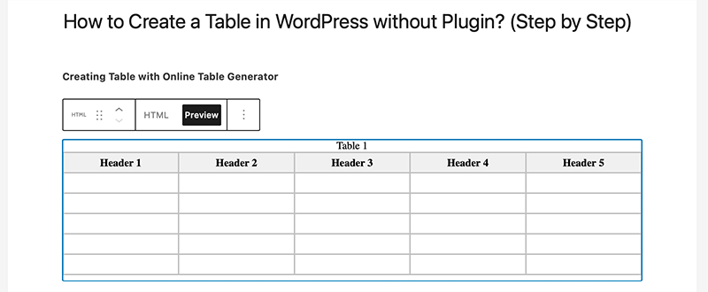Creating Table with Online Table Generator