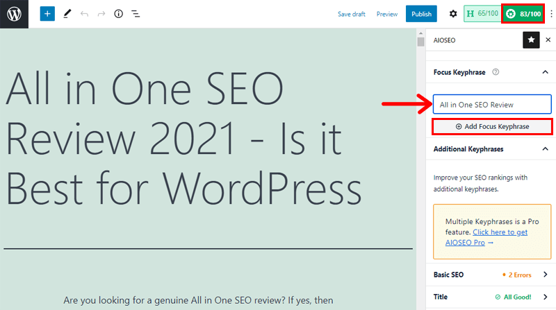 Using Keyword in All in One SEO