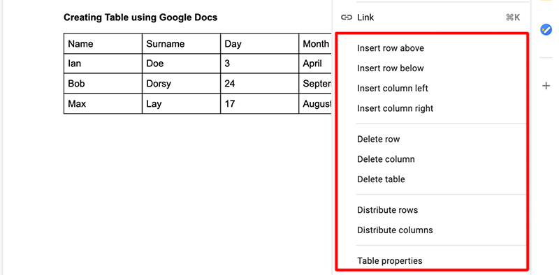 EditT able in Google Docs