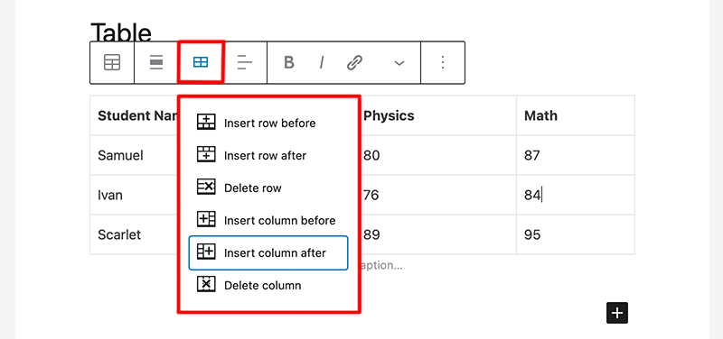 Insert New Row and Column to the Table