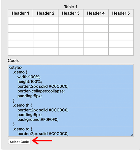Select Code of Generated Table
