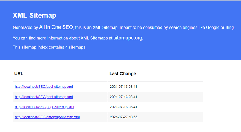 All in One SEO Sitemap- index-page of xml sitemap