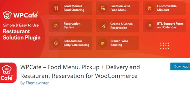 WPCafe WordPress Food and Drink Menu