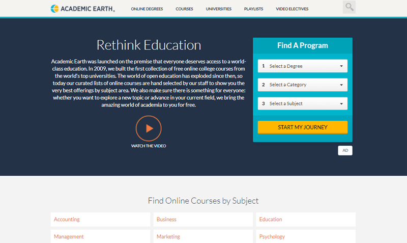 Academic Earth Online Course Websites