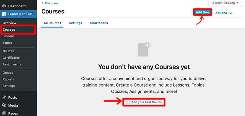 Add Courses to LearnDash