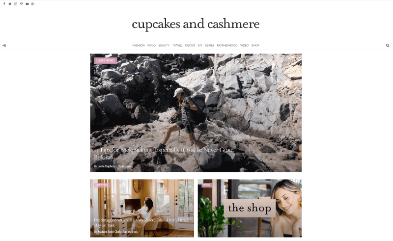 Cupcake and Cashmere Blog lifestyle websites