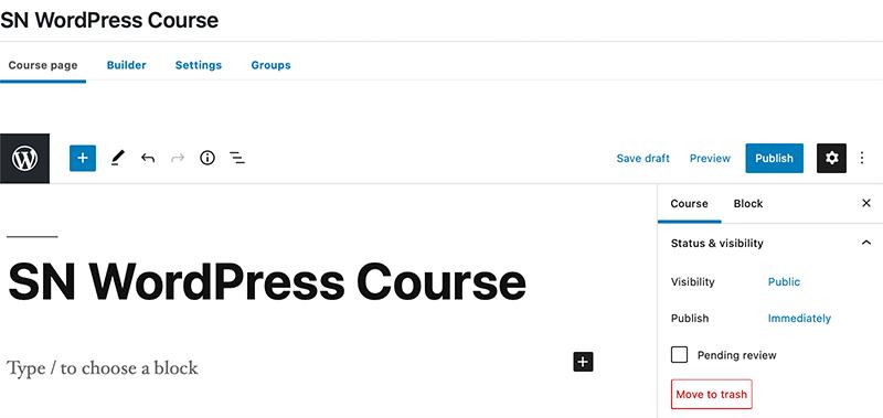 Native WordPress Course Editor