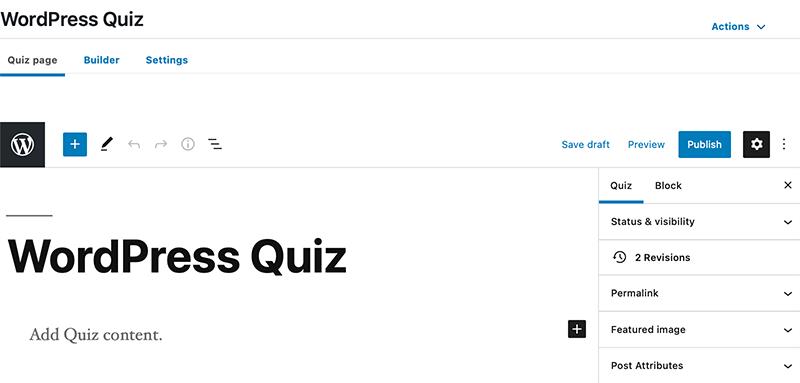 LearnDash Quiz Editor Page