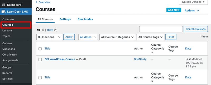 Select LearnDash Course Option
