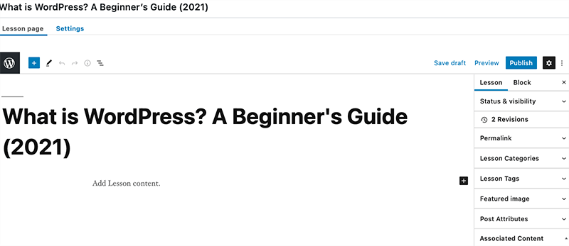 WordPress Lesson Editor Page