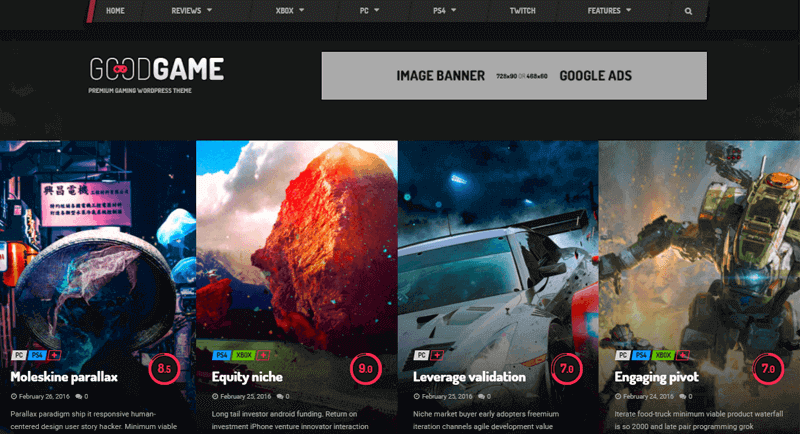GoodGame-Theme WordPress video streaming