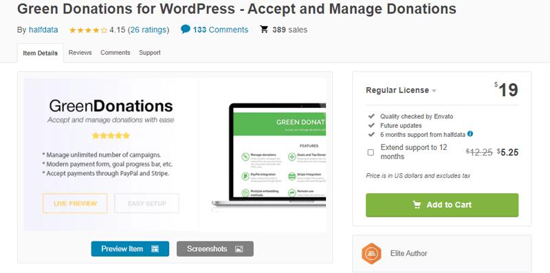 Green Donations for WordPress