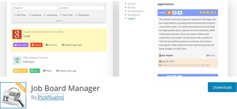 Job-Board-Manager-Plugin job application form template