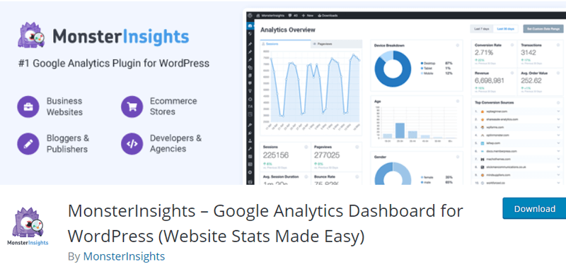 MonsterInsights Google Analytics Plugin