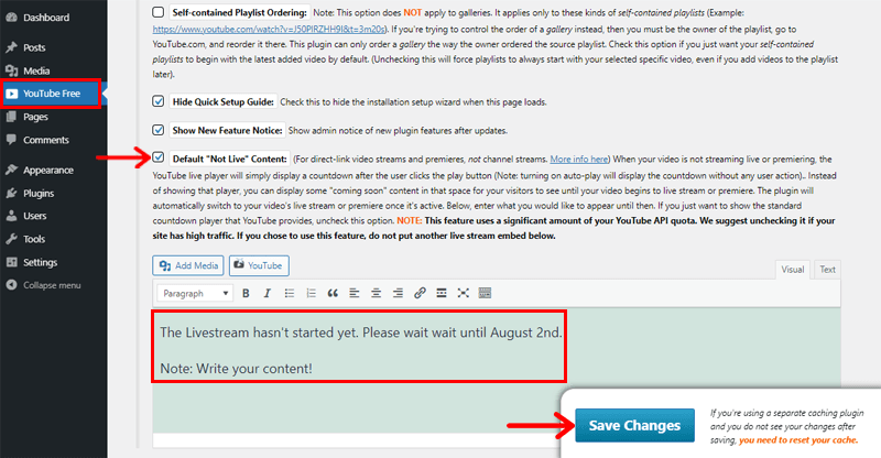 Customizing Not Live Content