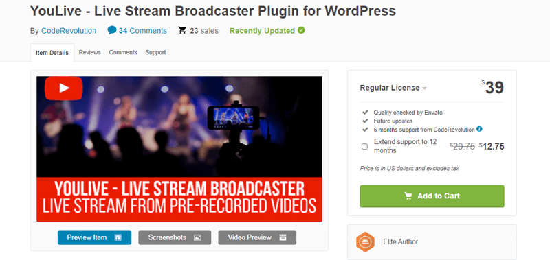 YouLive- best live streaming WordPress plugin