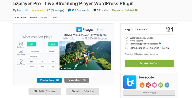 bzplayer Pro-live broadcast WordPress plugin