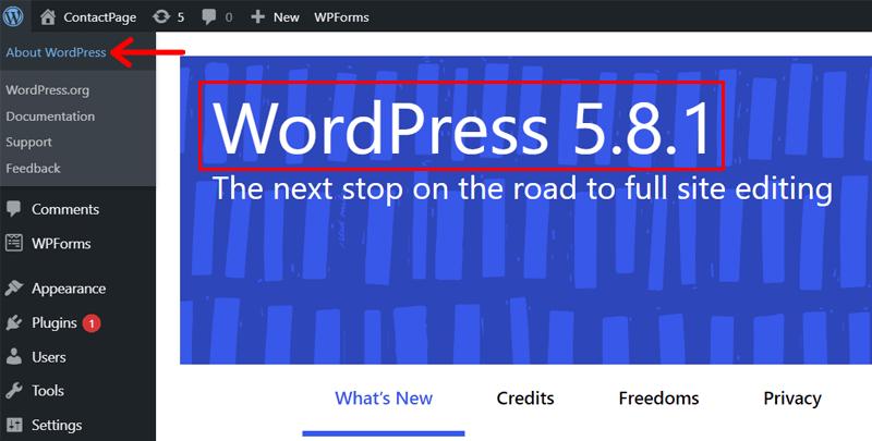 About WordPress menu allows to check WordPress version
