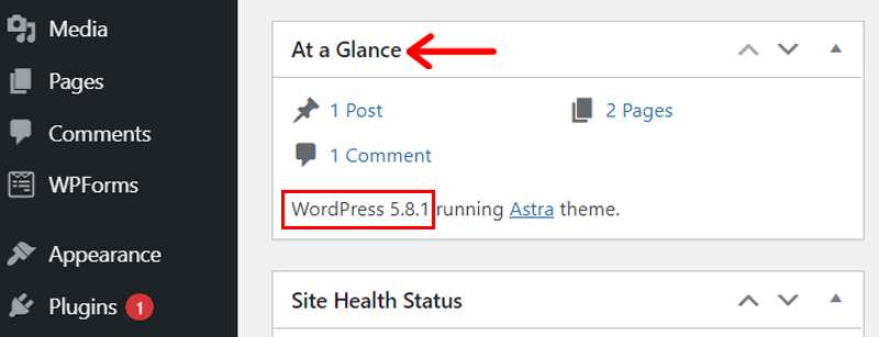 At a glance widget to check WordPress version