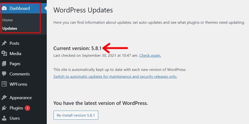 Updates menu showing WordPress version