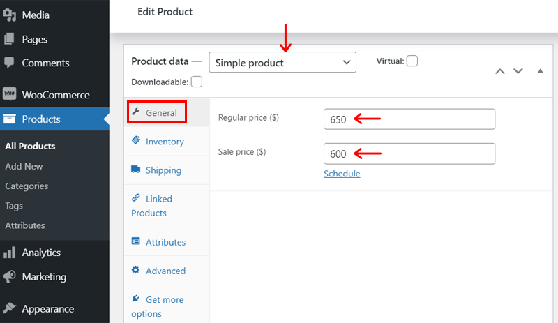 General Settings to Add Product