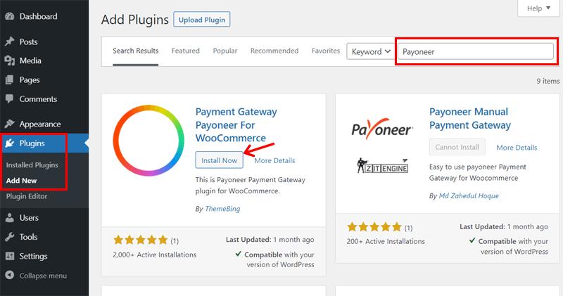 Installing Payoneer on WordPress