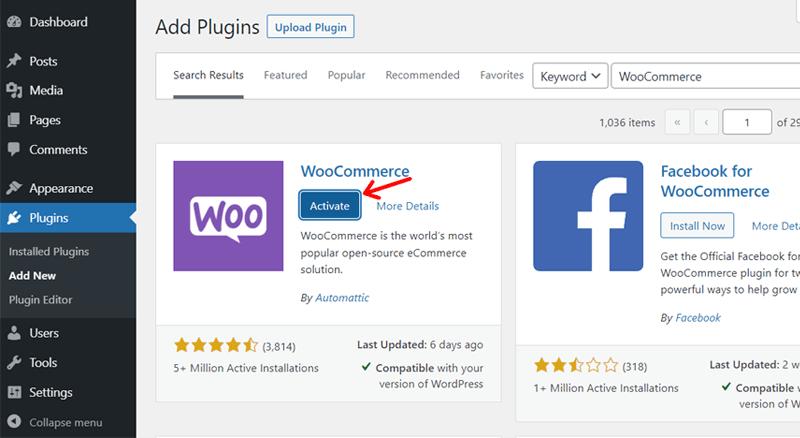Activating WooCommerce on WordPress