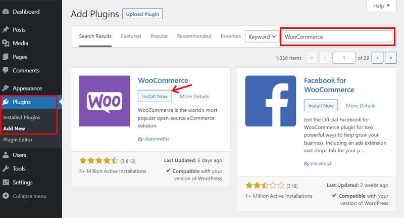 Installing WooCommerce on WordPress