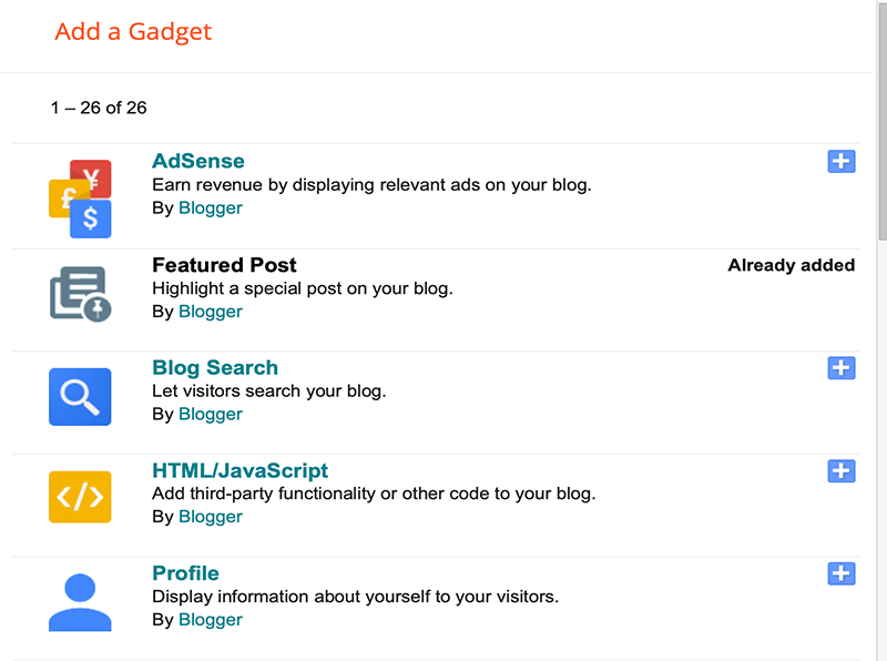 Gadget Feature on Blogger