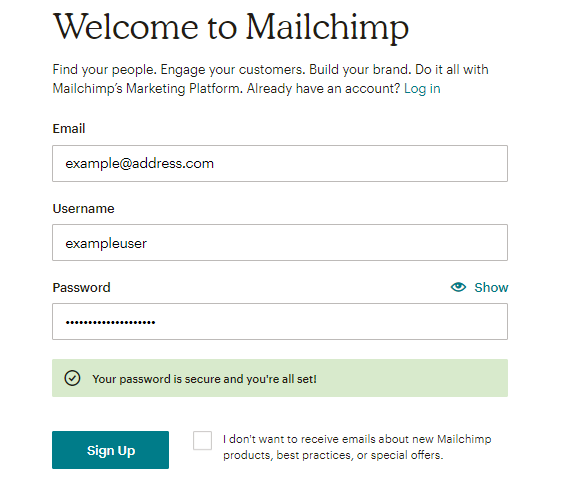 Signup Form of Mailchimp