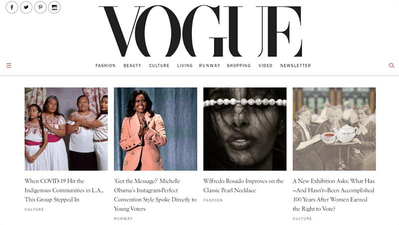 Vogue a popular Fashion Blog
