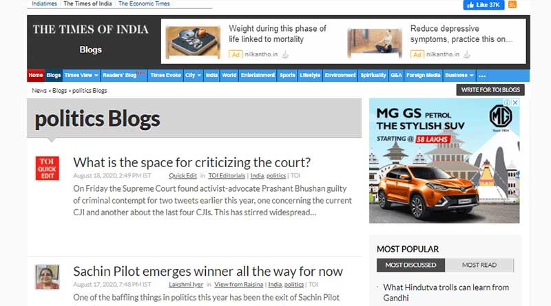 The Times of India a Popular Political Blog