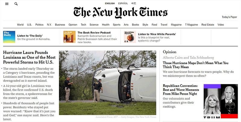 The New York Times News Site