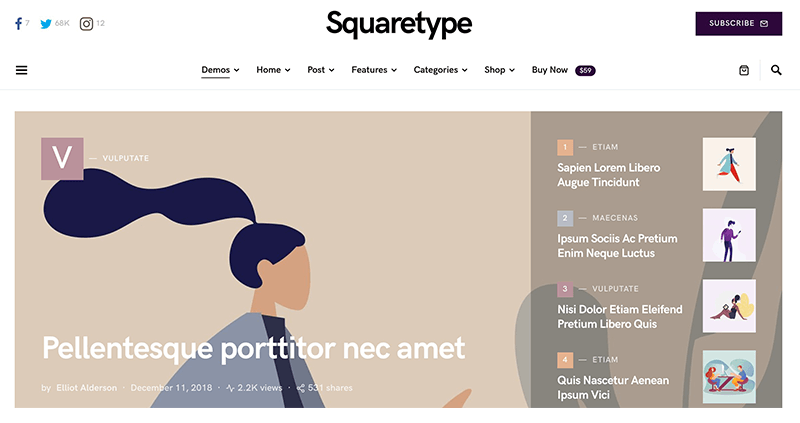 Squaretype WordPress Theme for Writers and Authors