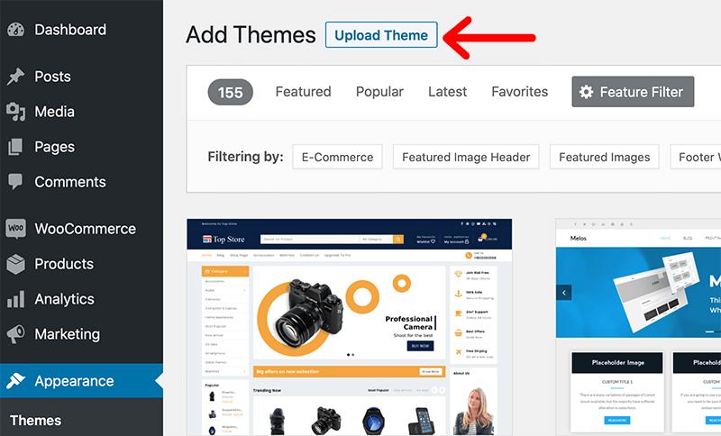 Upload New Theme Option