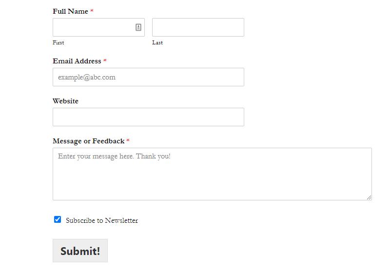 Contact Form Made with WPForms WordPress