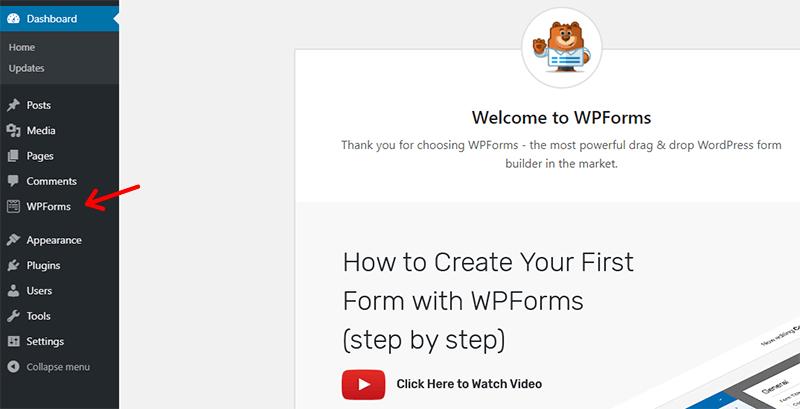 WPForms In WprdPressDashboard