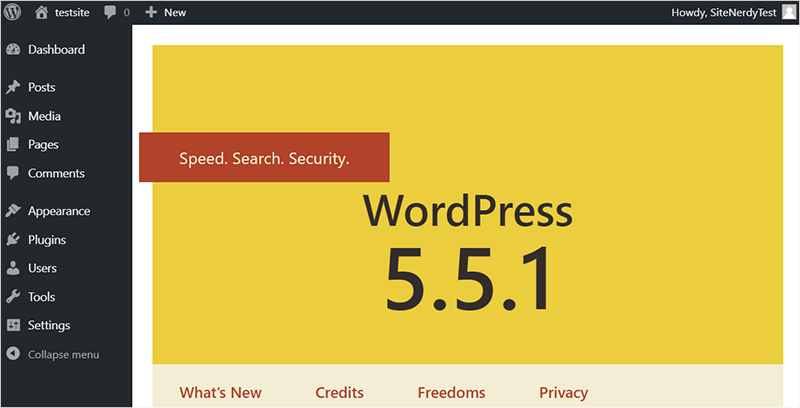 WordPress Dashboard Page