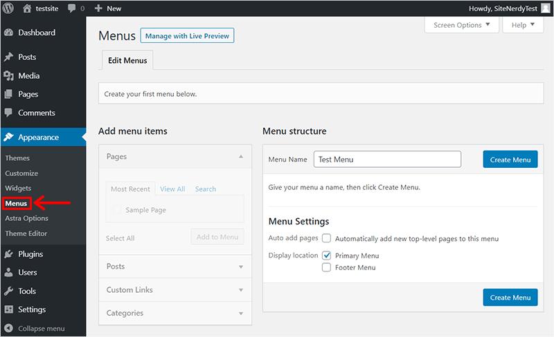 Adding Menus in WordPress