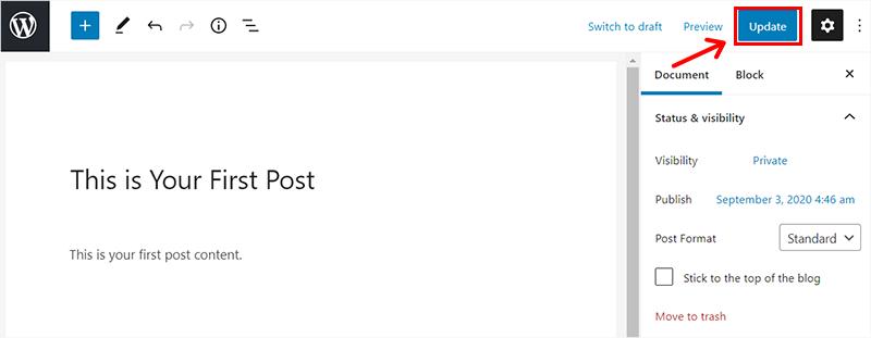 Update Post in a WordPress Blog