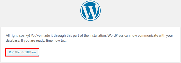 Run the Installation of WordPress