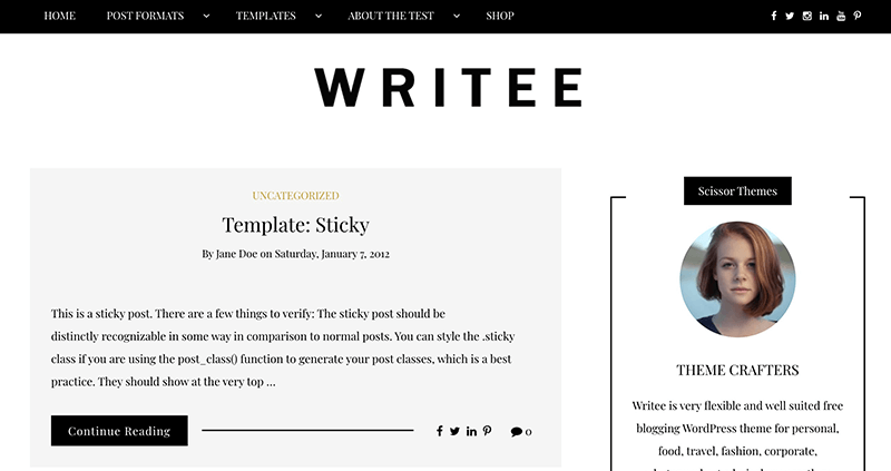 Writee Best WordPress Themes for Writer