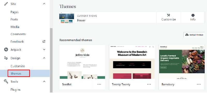 Add New Theme WordPress.com