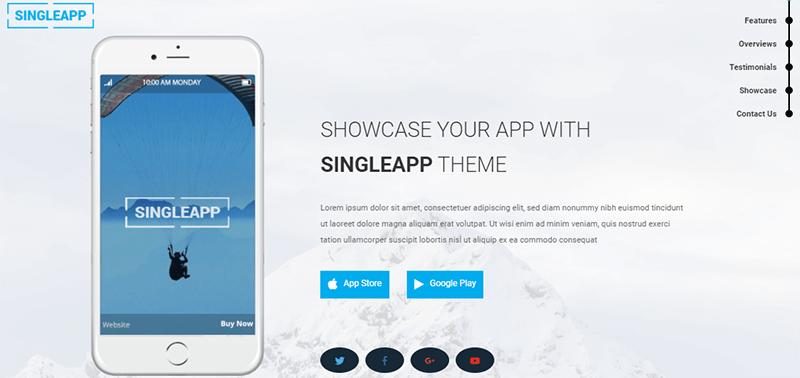 Demo Site of SingleApp Theme
