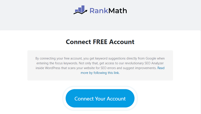 Rank Math Free Account Creation