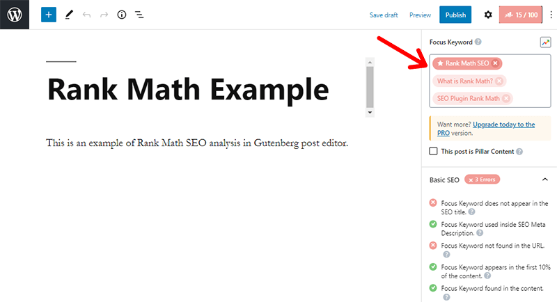 Rank Math Keyword Analysis