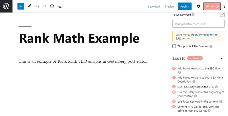 Rank Math SEO Settings in Gutenberg Editor Sidebar