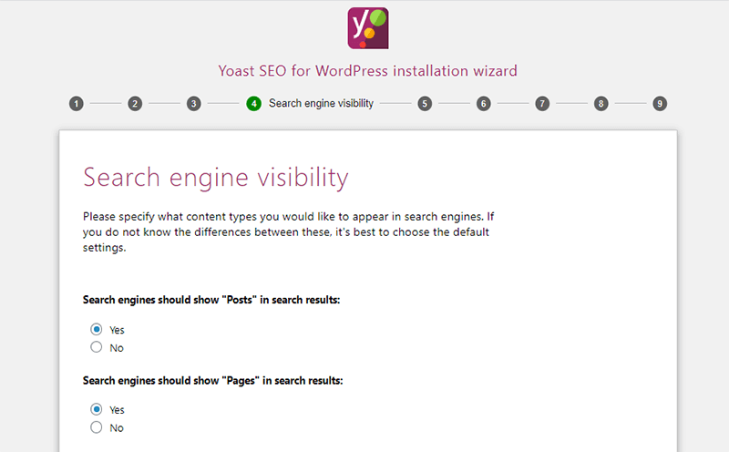 Search Engine Visibility In Yoast Configuration Wizard