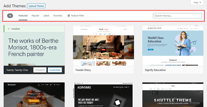 Select WordPress Theme form WordPress Dashboard