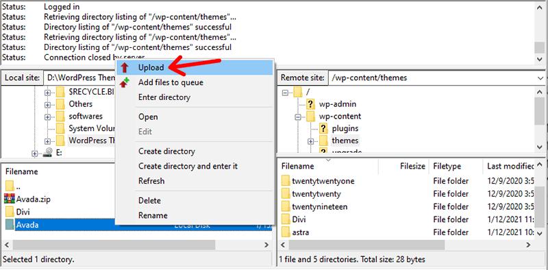 Upload Theme from Local Files to WordPress Server Files using FileZilla